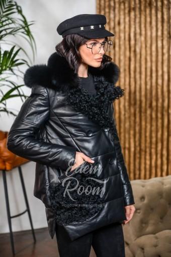 Утеплённая кожаная куртка с меховыми карманами