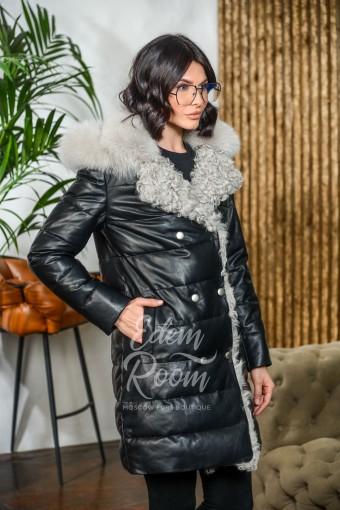 Утеплённое кожаное пальто с мехом