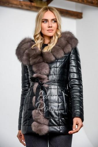Зимняя куртка из экокожи с мехом