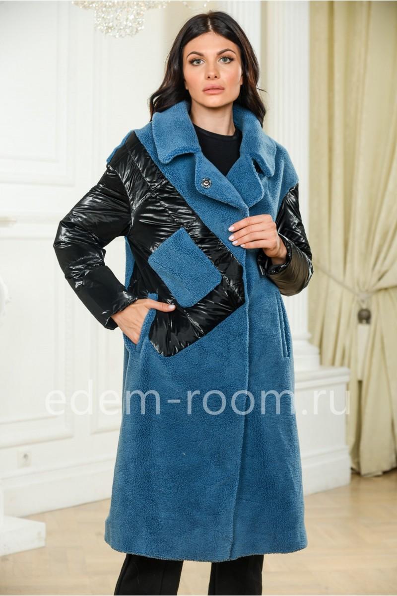 Синее шерстяное пальто