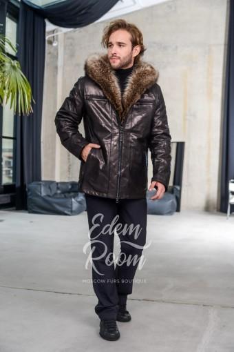 Теплая куртка из кожи для мужчин