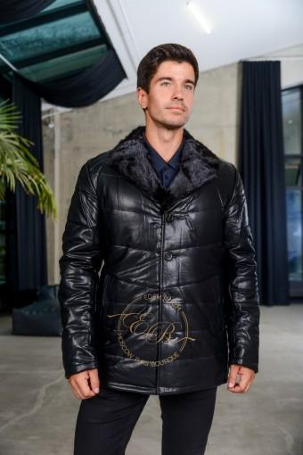 Зимняя куртка из эко-кожи с воротником их норки