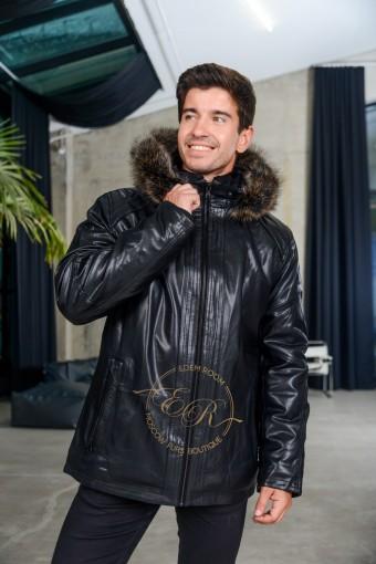 Мужская зимняя куртка из экокожи