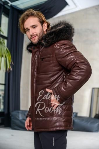 Коричневая утеплённая куртка из натуральной кожи