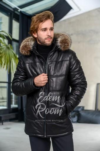 Зимняя кожаная куртка на молнии с мехом