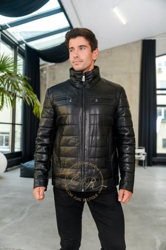 Мужская утеплённая куртка из кожи