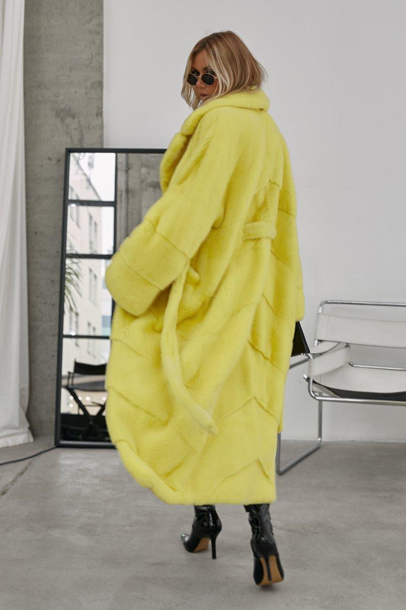 Лимонная шуба из скандинавской норки