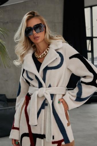 Стильное пальто из тканной шерсти