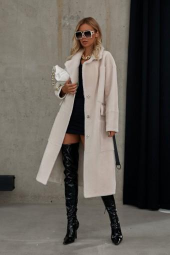 Ультрамодное пальто из белой шерсти