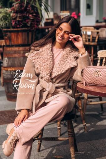 Пальто с поясом из натуральной шерсти