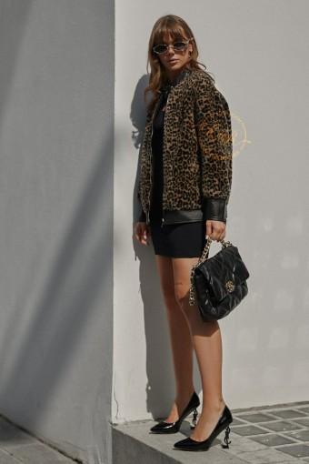 Леопардовая куртка из экологической шерсти