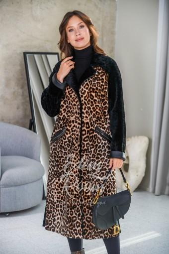 Леопардовое пальто - дублёнка