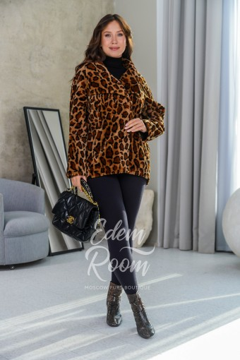 Леопардовая куртка - дублёнка для межсезонья