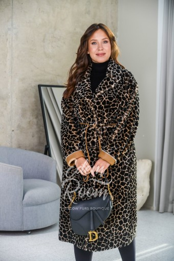Демисезонная леопардовая дублёнка на коже