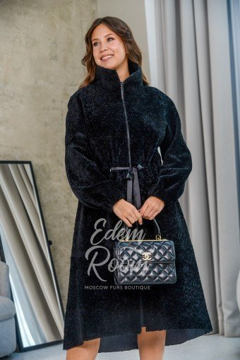 Чёрное пальто - дублёнка из меха кёрли