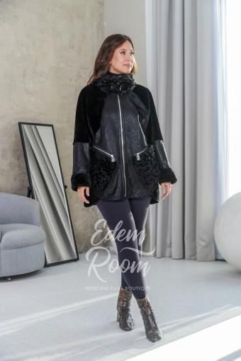 Куртка - дублёнка для женщин в черном цвете