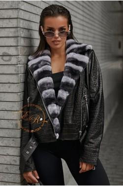 Кожаная куртка - косуха с мехом шиншиллового кролика