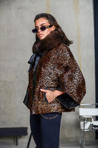 Леопардовая куртка из меха пони