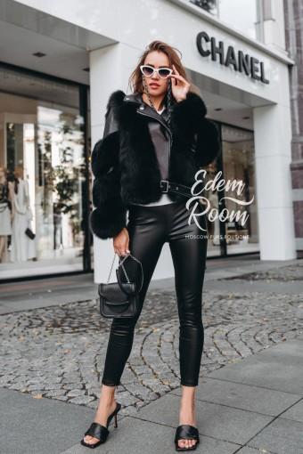 Чёрная куртка из кожи меха песца