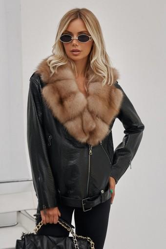 Кожаная куртка с воротником из меха куницы