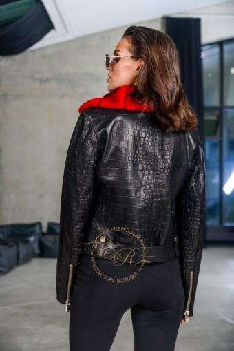 Демисезонная куртка - косуха с шиншилловым воротником