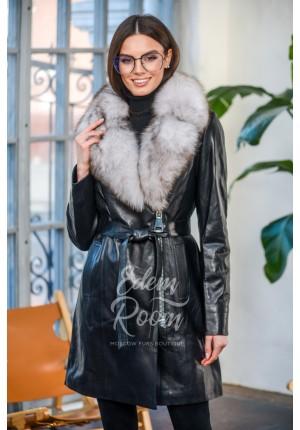 Демисезонное кожаное пальто