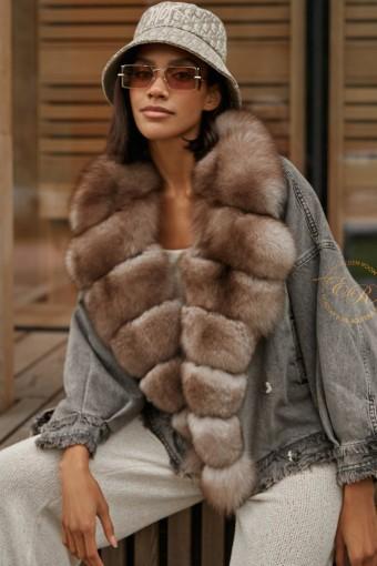 Джинсовая куртка с мехом финского песца