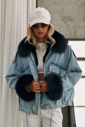 Джинсовая куртка на мехе кролика