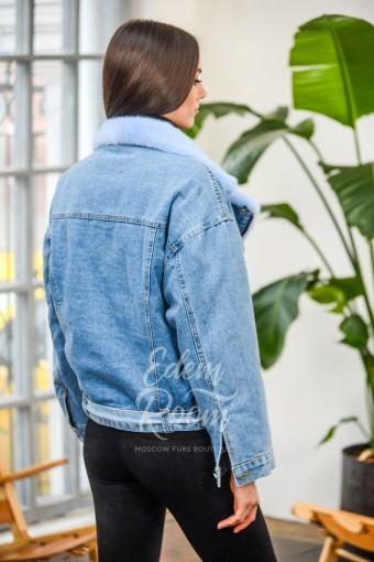 Джинсовая куртка -косуха с мехом норки
