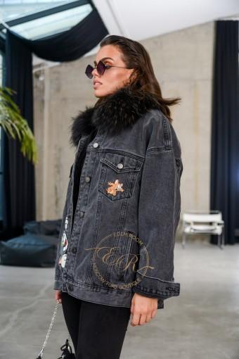 Утеплённая мехом джинсовая куртка