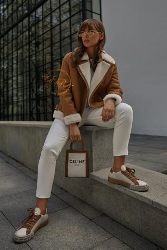 Укороченная куртка - авиатор с белым мехом