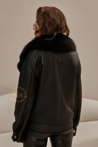 Дублёнка - куртка с воротником из меха песца