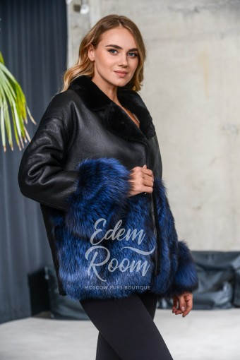 Дублёнка - куртка с мехом чернобурой лисы