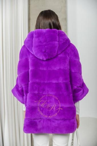 Фиолетовая кофта на молнии из рекса