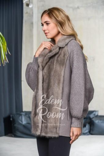 Теплая кофта с мехом норки для женщин