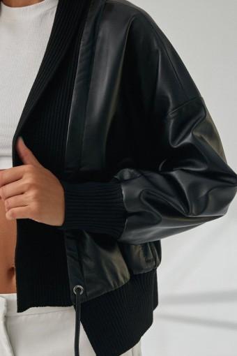 Кожаная куртка на завязках