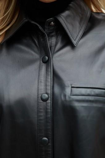 Стильная куртка - рубашка из натуральной кожи