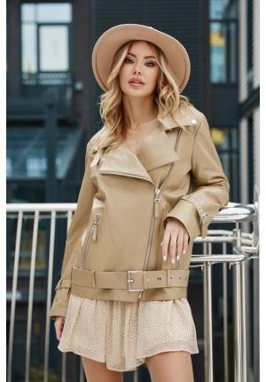 Бежевая куртка - косуха из натуральной кожи