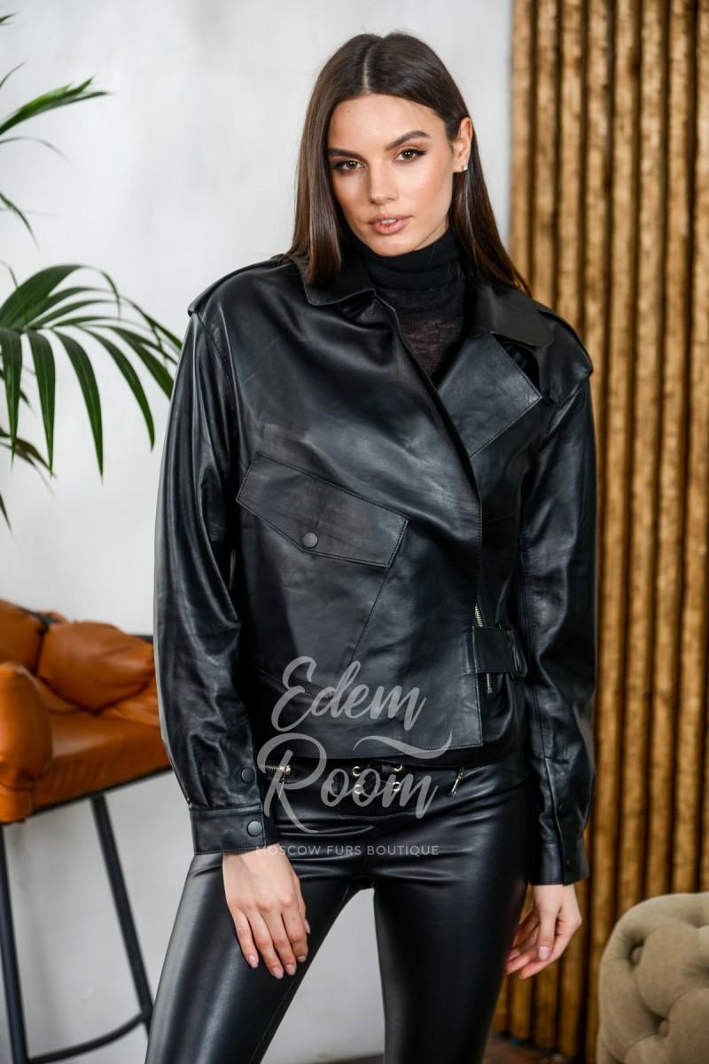 Короткая куртка из тонкой кожи