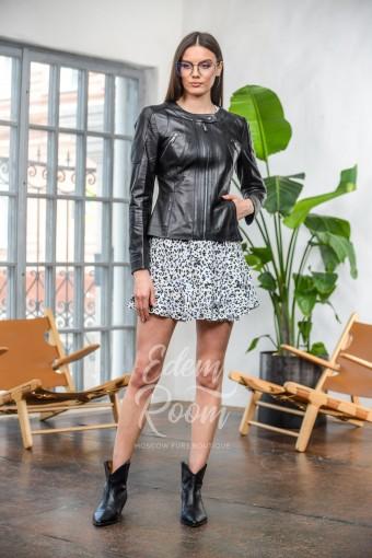 Куртка - воротник из натуральной кожи шанель