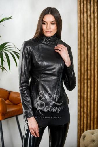Куртка из натуральной кожи с воротником стойка