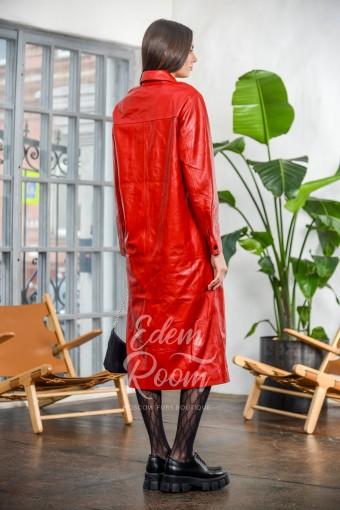Красный кожаный плащ - рубашка