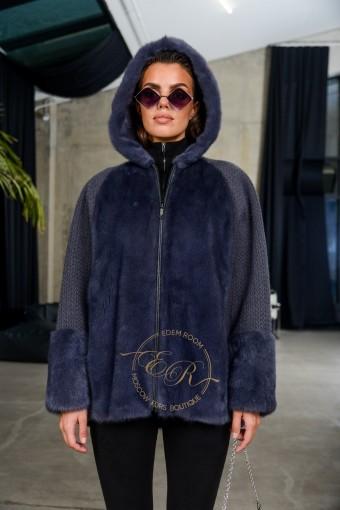 Норковая куртка на молнии с капюшоном