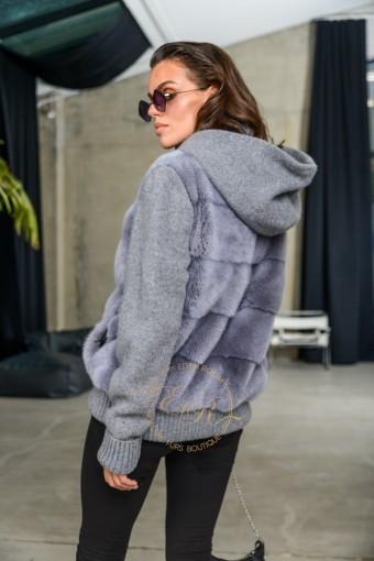 Современная куртка из шерсти и меха норки