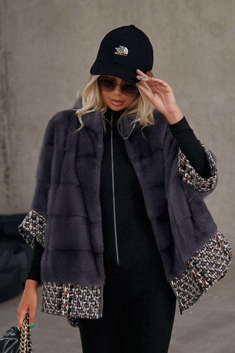 Норковая куртка на молнии с букле