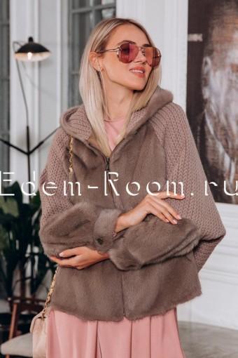 Куртка из вязаной шерсти и меха норки