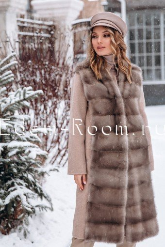 Пальто с жилетом 3в1 из шерсти и меха норки