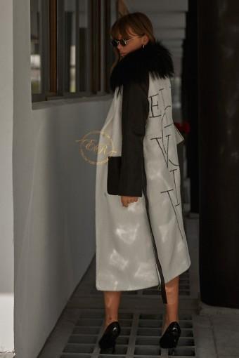 Пальто - кардиган украшенный мехом рекса