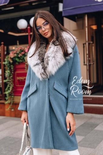 Трикотажное пальто - кардиган  с мехом