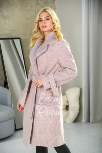 Шерстяное пальто под пояс